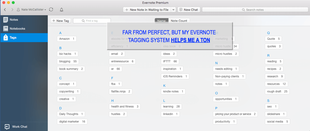 Evernote Tags