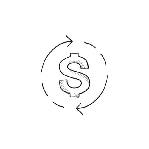 Dollar symbol with arrows sketch icon.