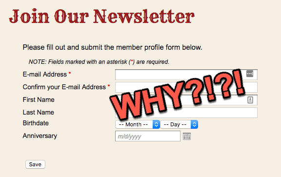 bad newsletter sign up example