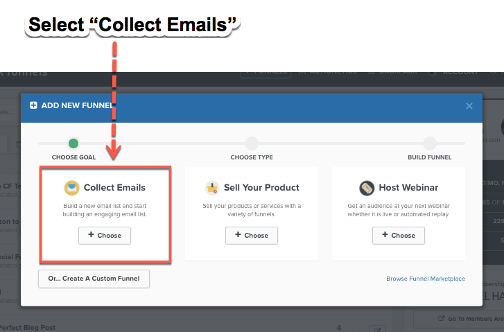 Clickfunnels collect emails
