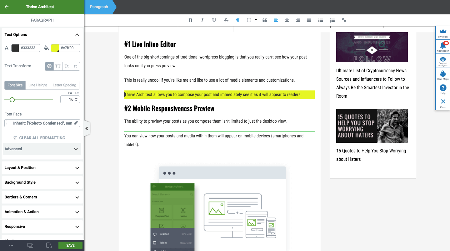 Thrive Themes Live Editor