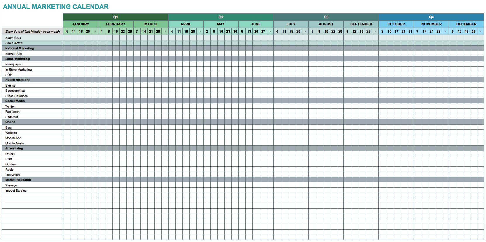 7 free excel templates for marketers and how to use them. Black Bedroom Furniture Sets. Home Design Ideas
