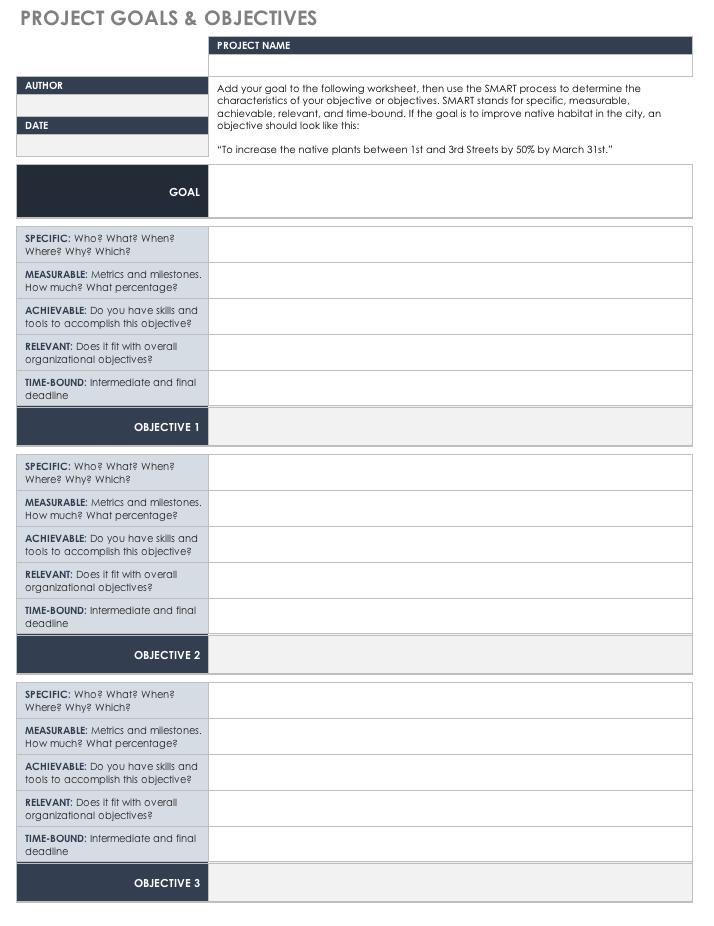 Smart goal planning templates