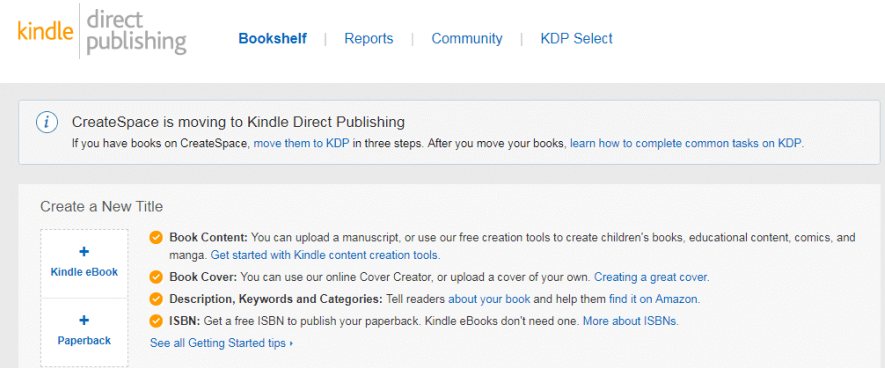 KDP Direct Publishing Dashboard