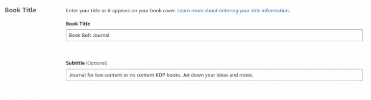 KDP Book Title