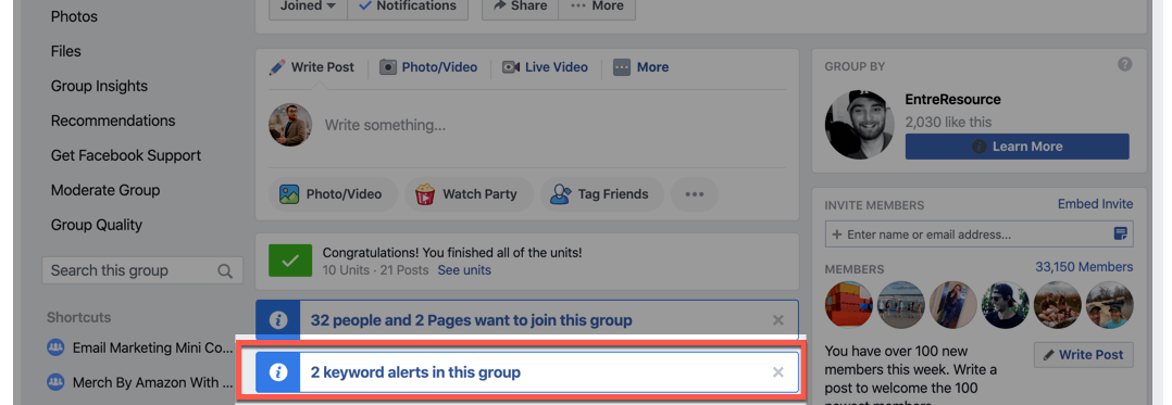 Keyword Alerts on FB Groups