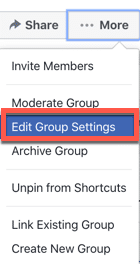 Edit Facebook Group Settings