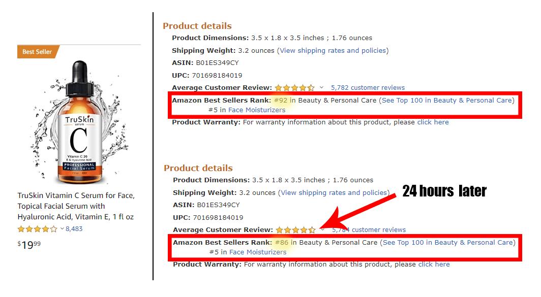 Amazon bestseller rank changes