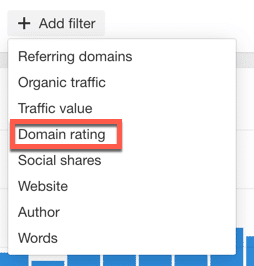 Domain rating filter