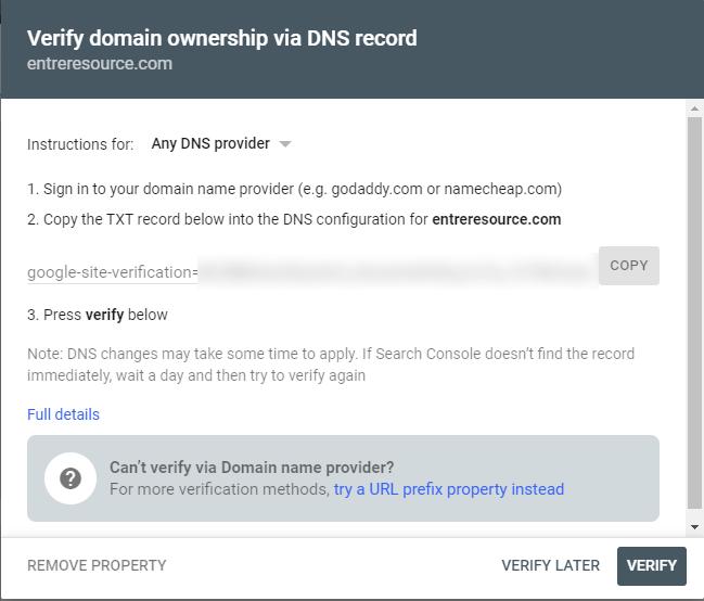 google search console verify domain