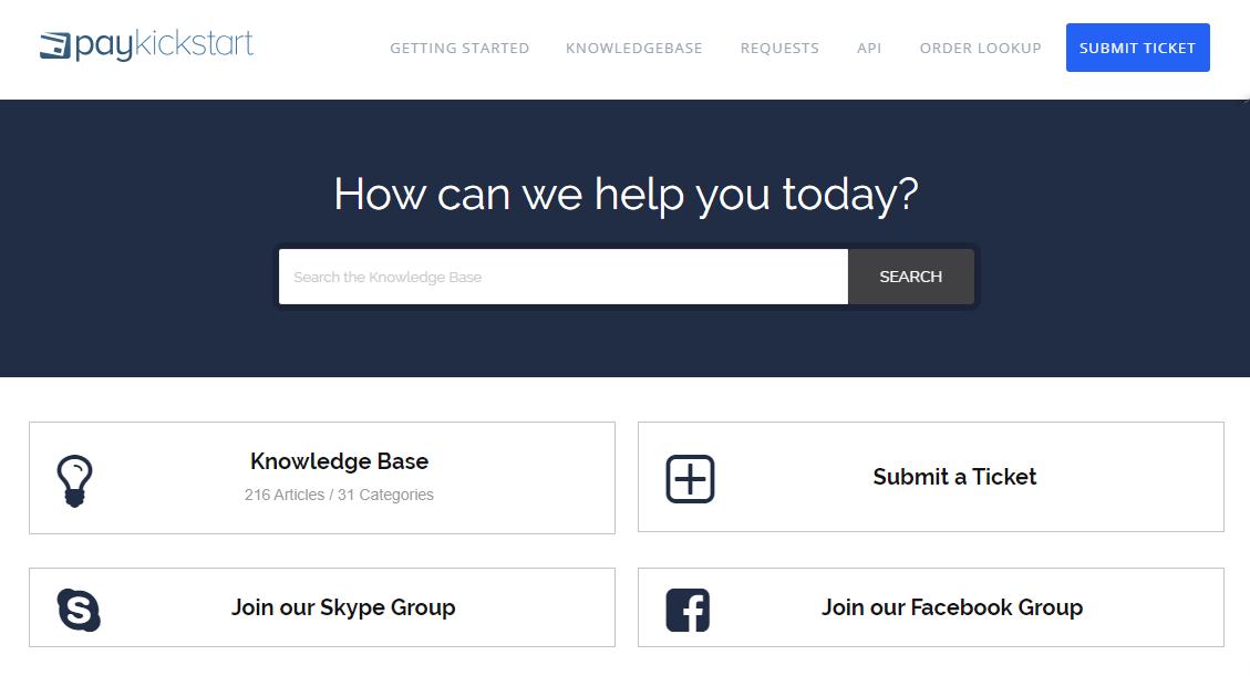 PayKickStart support