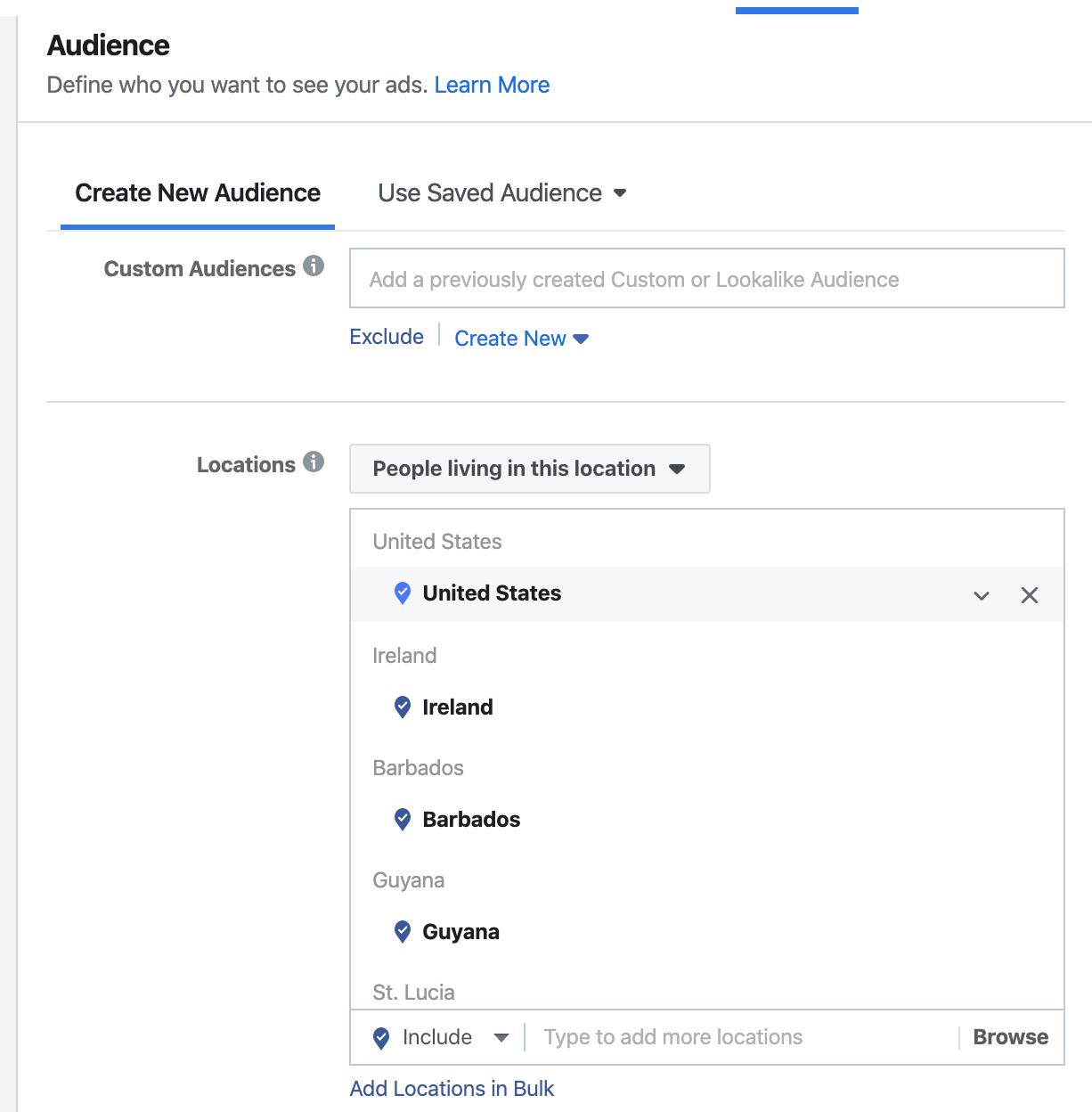 Facebook Region Audiences