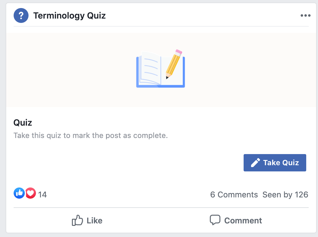 Facebook Group Quizzes