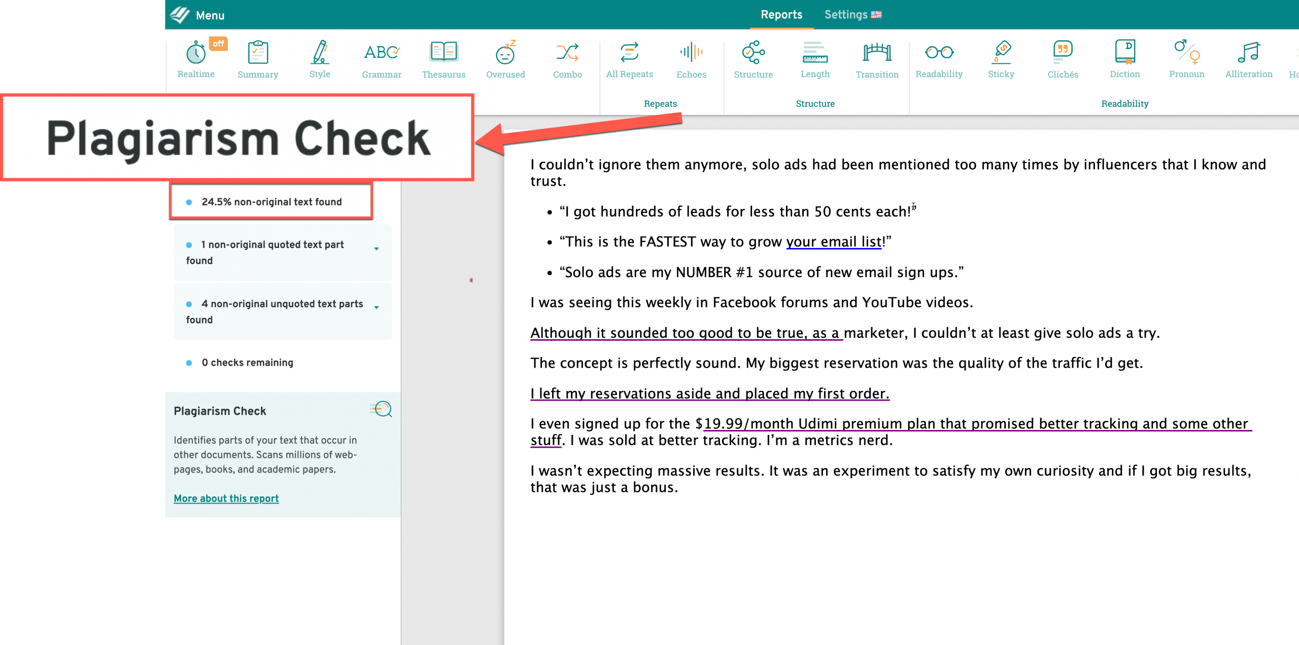 Prowriting Aid Plagiarism Checker