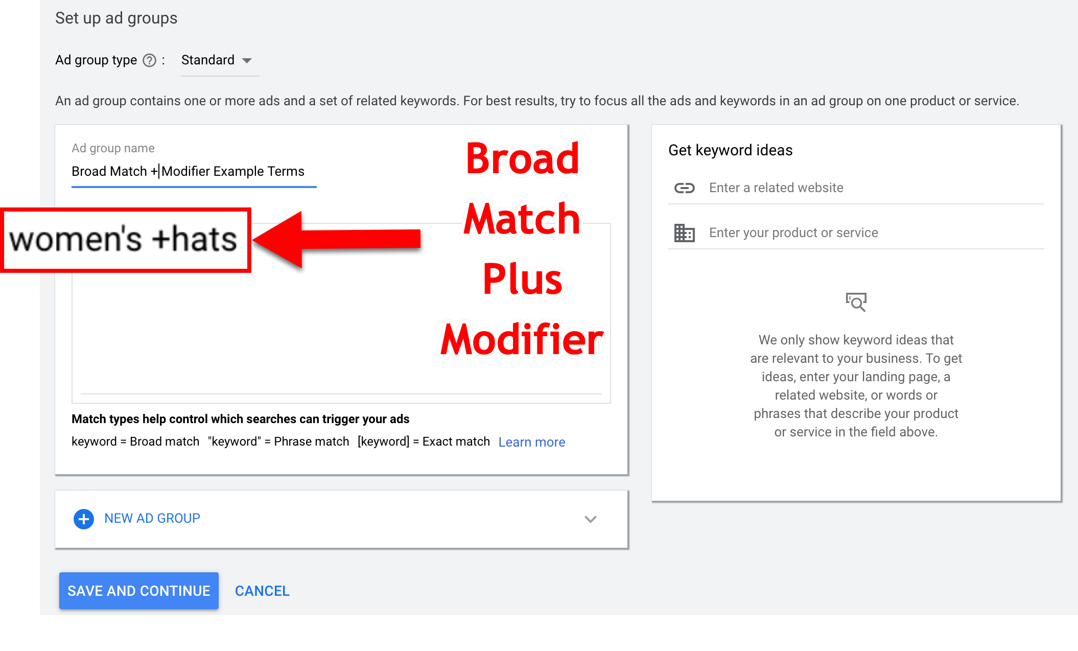 Broad Match + Modifier Example