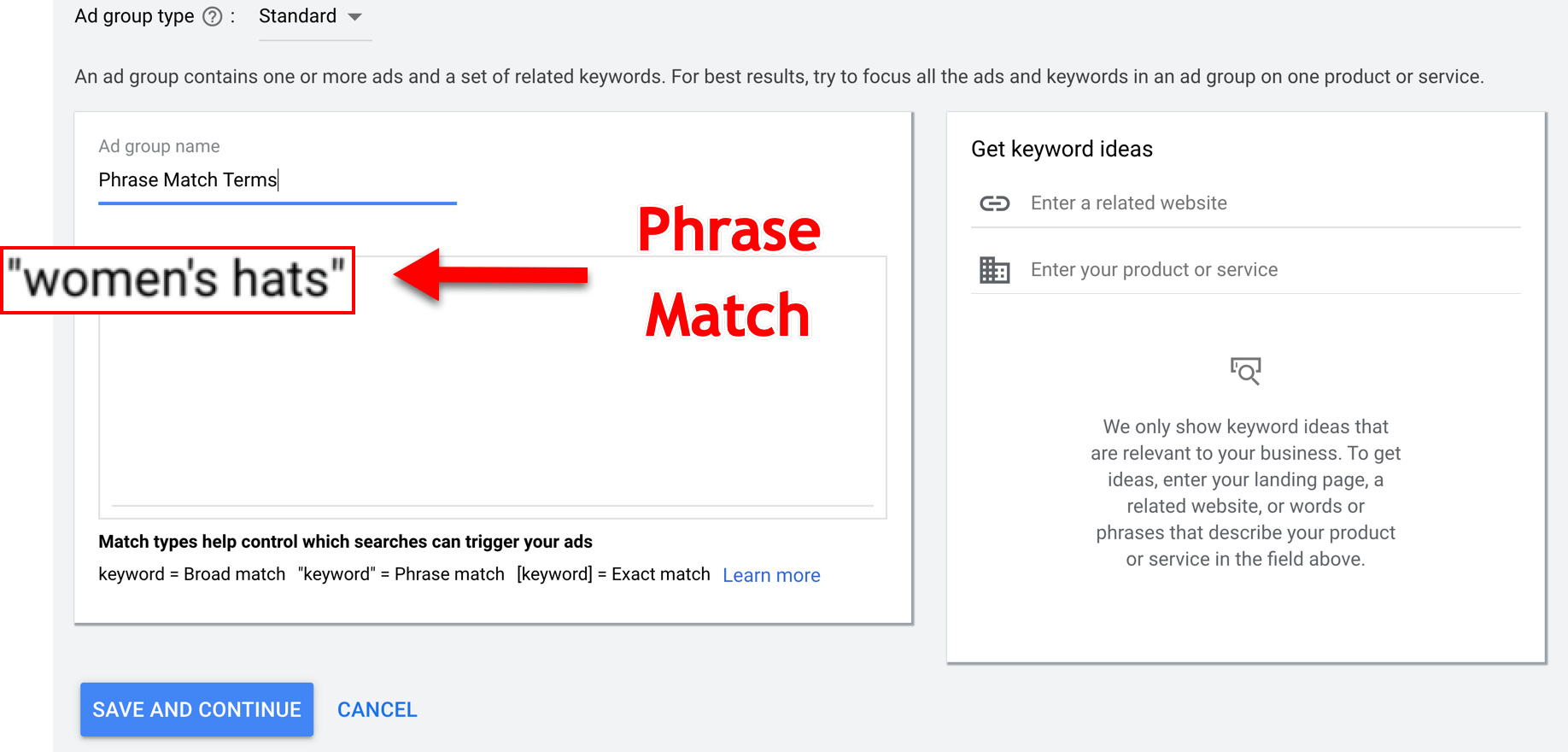 Google Phrase Match Type Example