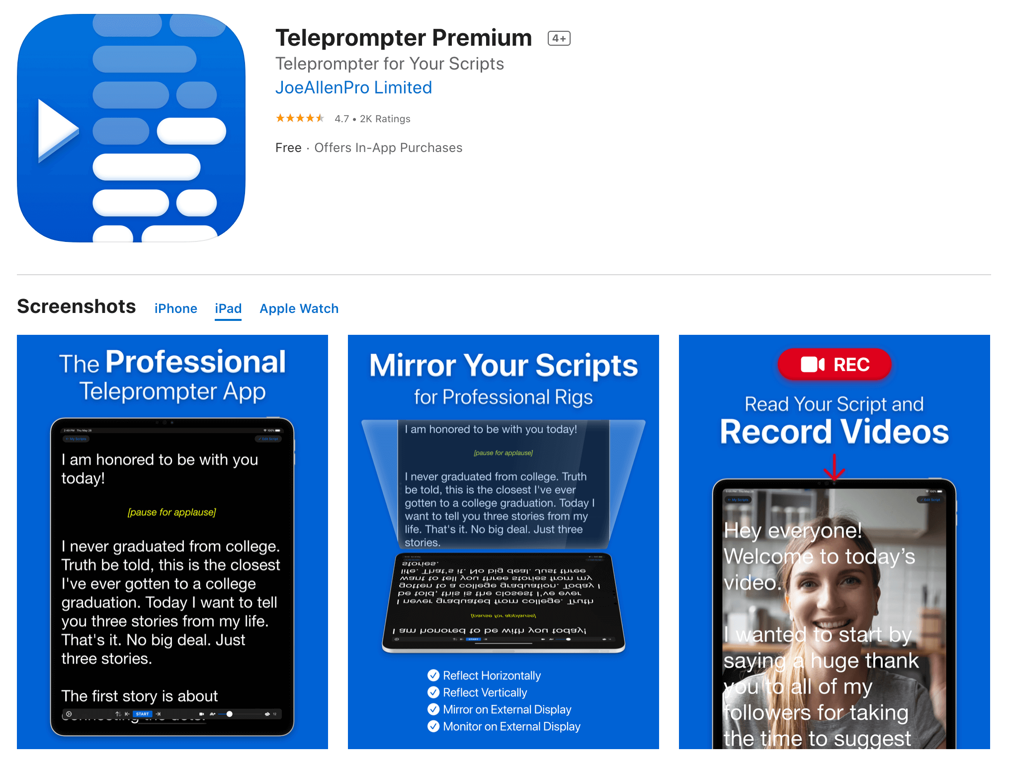 iPad as Teleprompter