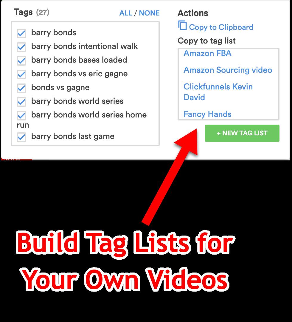Custom Lists of Tags on YouTube