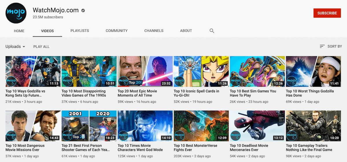 List Channels on YouTube