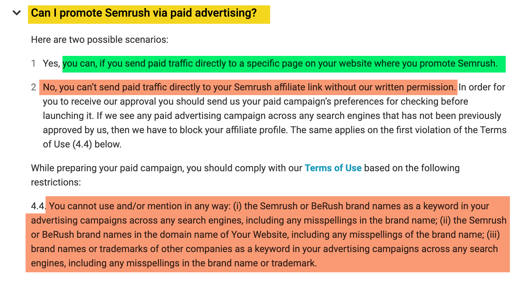 rules about running paid ads to affiliate offers