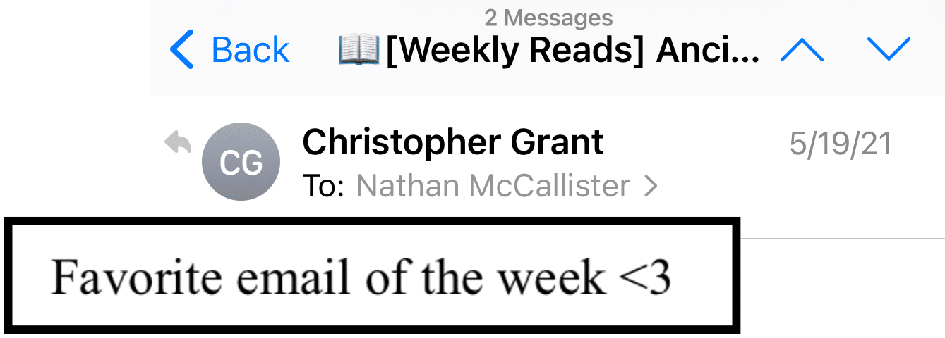 Favorite Email of the Week
