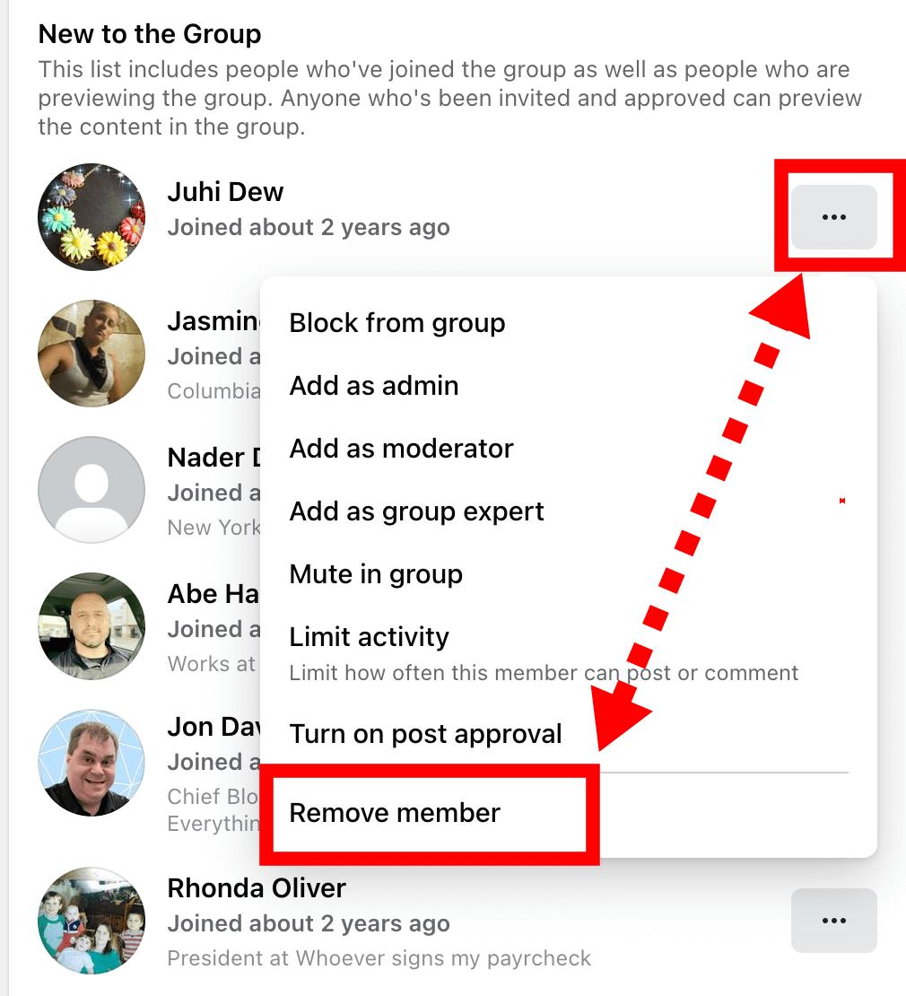 Remove Facebook Member