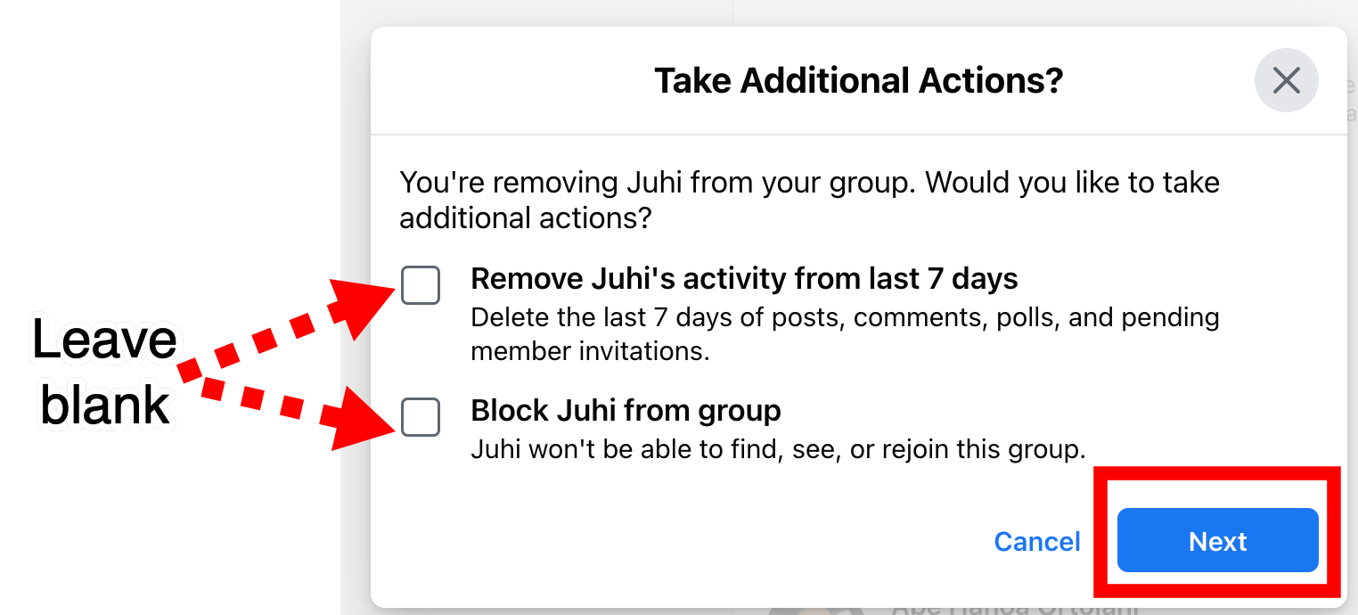 Facebook group take additional actions