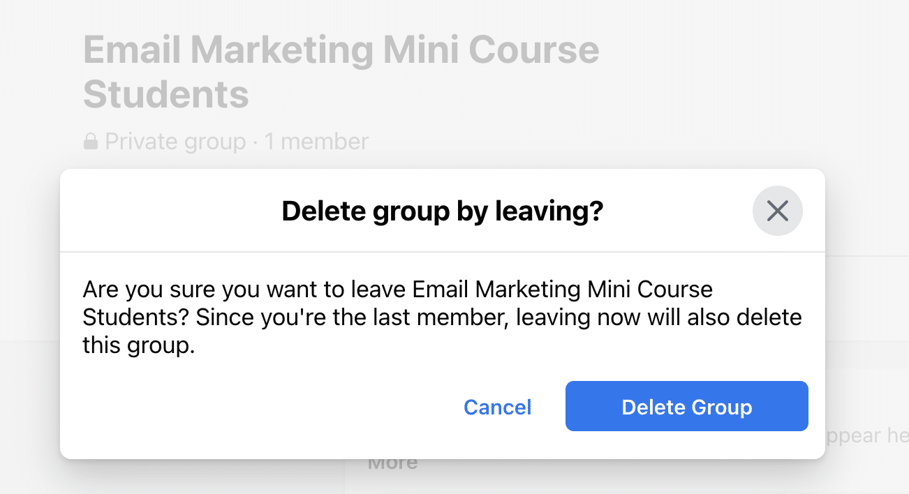 Delete Facebook group by leaving