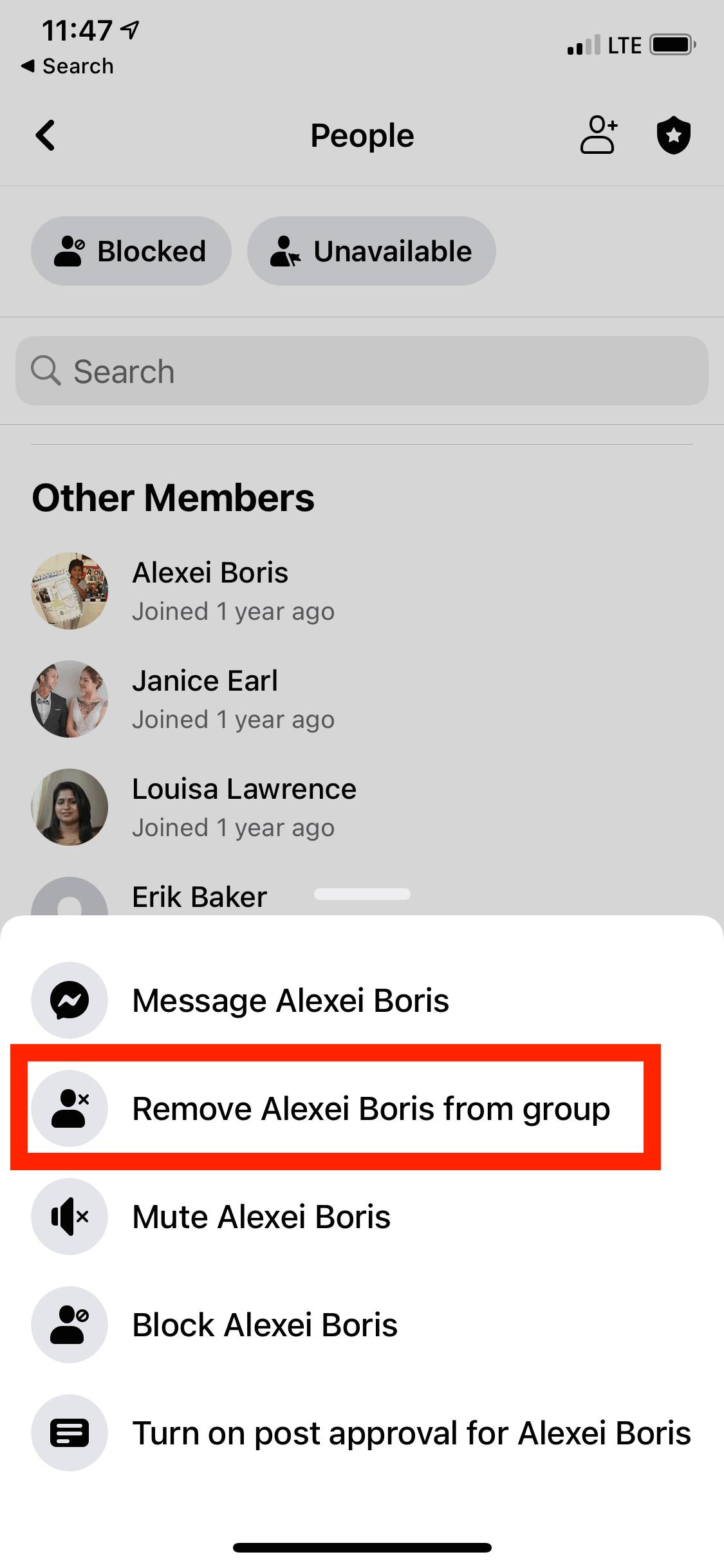 Remove FB members on mobile