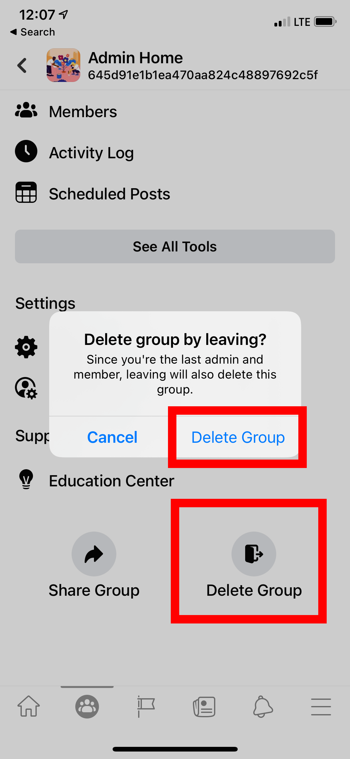 Delete FB Group on Mobile