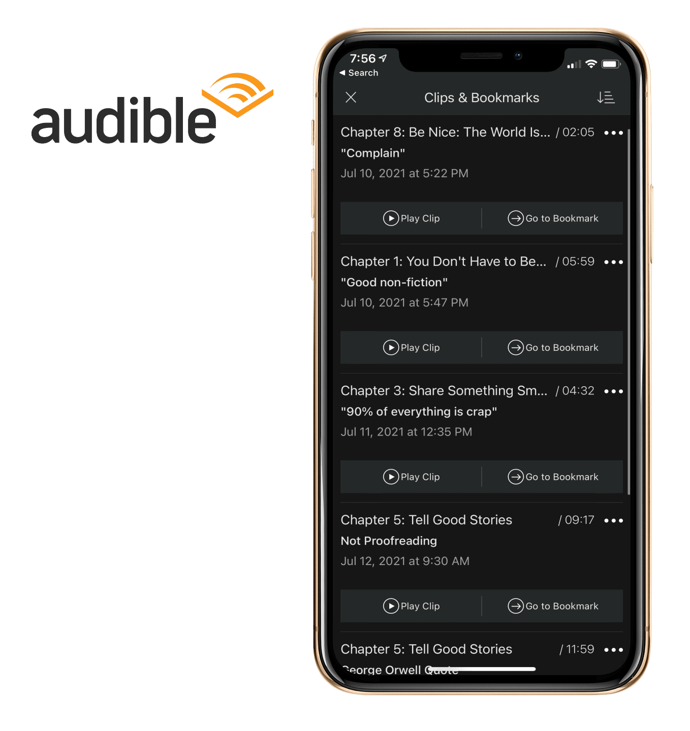 Audible clipping notes