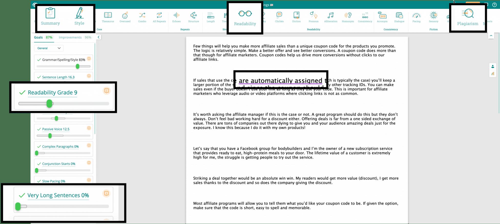 Prowriting Aid Use